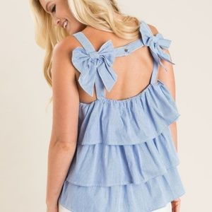 Soprano Striped Ruffled Top With Bows